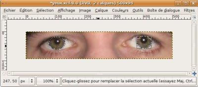 sélectionner yeux dans image