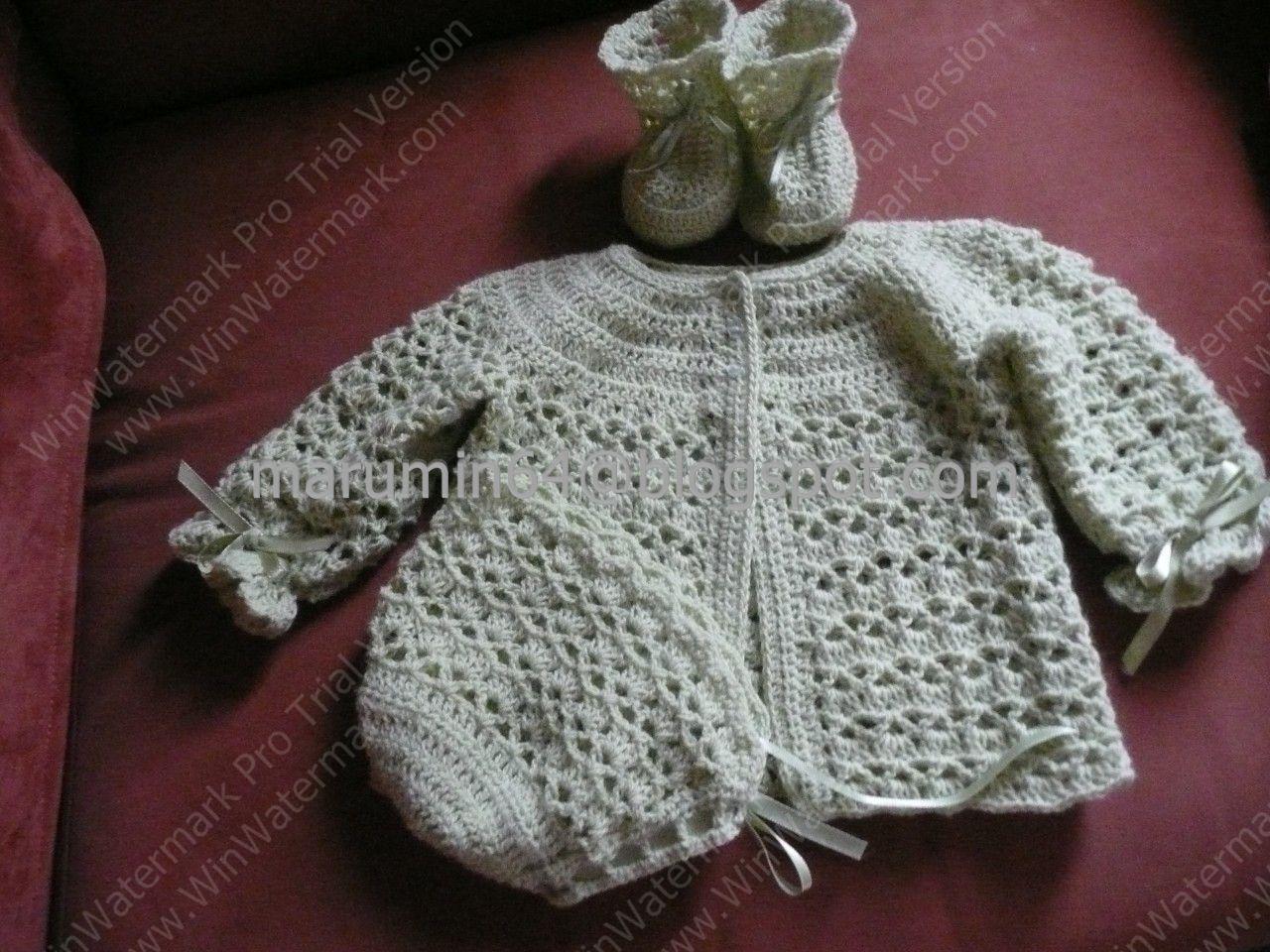 Marumin crochet conjunto verde 3 piezas chaqueta - Toca de ganchillo ...