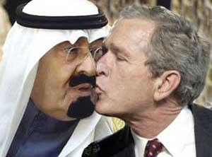 King Abdullah kissung former president George Bush