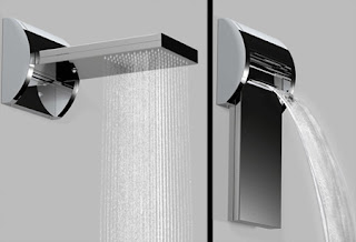 vanity shower waterfall bathroom design idea