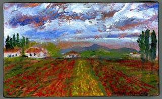 Acrylic painting - tulips, skagit valley