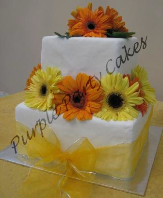 Yellow and Orange Gerbera Wedding Cake