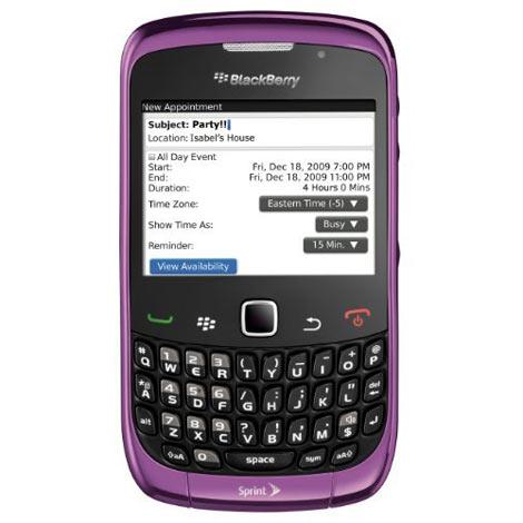 Sprint BlackBerry Curce 3G 9330 Purple. The Sprint's Curve 3G 9330 also
