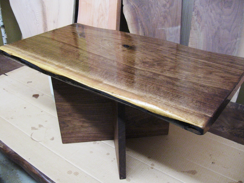 Woodrich Black Walnut Live Edge Slab Coffee Table