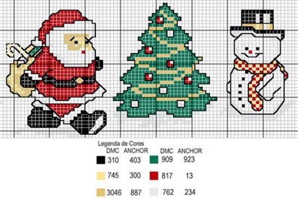 Вышивка схемы для новогодних мешочков 62