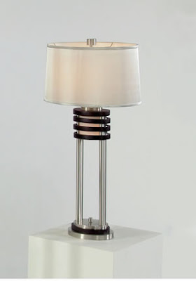 Nova 0327DS 1 Light Kobe Table Lamp Dark Brown/Brushed Nickel