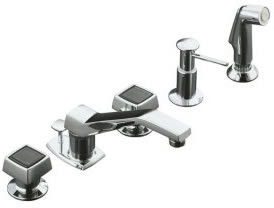 Kohler K-6962-2 Alterna Widespread Lavatory Shampoo Faucet With Shampoo Spray, Soap/Lotion Dispenser And Square Handles