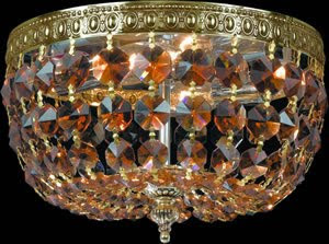 Crystorama 710-AG-GT-MWP Bohemian Golden Teak MWP Crystal Basket 2 Light Flush Mount Ceiling Fixture Aged Brass