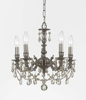Crystorama 5505-PW-SSS Mirabella 5 Light Chandelier Pewter Cilver Shade Swarovski Strass Crystal
