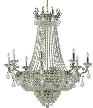 Crystorama 1488-HB-CL-S Majestic 8 Light Chandelier Historic Brass With Swarovski Strass Crystal