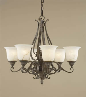 Murray Feiss F1986/6PBR Seville 6 Light Chandelier Peruvian Bronze
