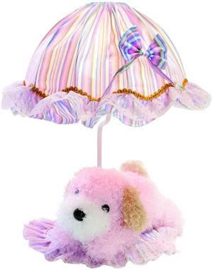 Lite Source IK-6090PINK 1 Light Table Lamp - Pink Dog/Striped Fabric Shade