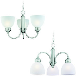 Sea Gull 39035BLE-962 3 Light Fluorescent Metropolis Convertible Chandelier Brushed Nickel