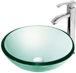Vigo VGT135 Luminous Glass Vessel Sink With Faucet
