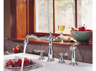 Delta 2256-216 Victorian Two Handle Kitchen Faucet With Lever Handles & Side Spray