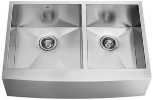 Vigo VG3620BL 16 Gauge Stainless Steel Double Bowl Farmhouse Kitchen Sink