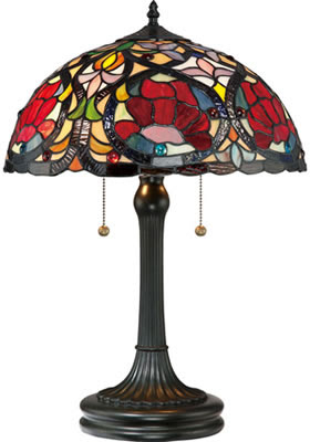Quoizel TF879T Larissa 2 Light Tiffany Table Lamp Vintage Bronze