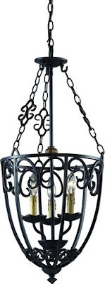 Z-Lite 402S Spanish Forge 4 Light Foyer Fixture Black/Antique Gold