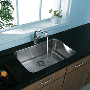 Vigo VG14004 Undermount Single Bowl Stainless Steel Kitchen Sink With Faucet