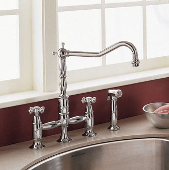 American Standard 4233.701 Culinaire Bridge Kitchen Faucet With Cross Handles & Side Spray