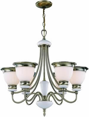 Lite Source LS-18426AB/FRO Carter 6 Light Ceiling Lamp, Antique Brass/Frost Glass Shade
