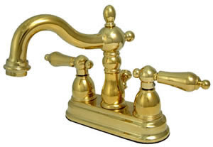 Kingston Brass KS1602AL 4 Inch Center Set Lavatory Faucet With Metal Pop-Up Drain & Lever Handles - Polished Brass
