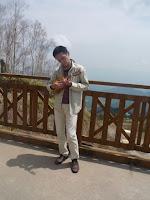 playing ukulele on observatory