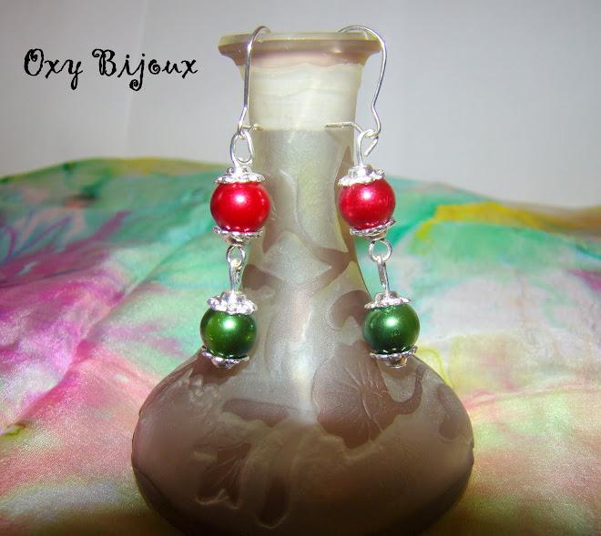 Cercei perle rosu-verde - pret 5 RON (C5)