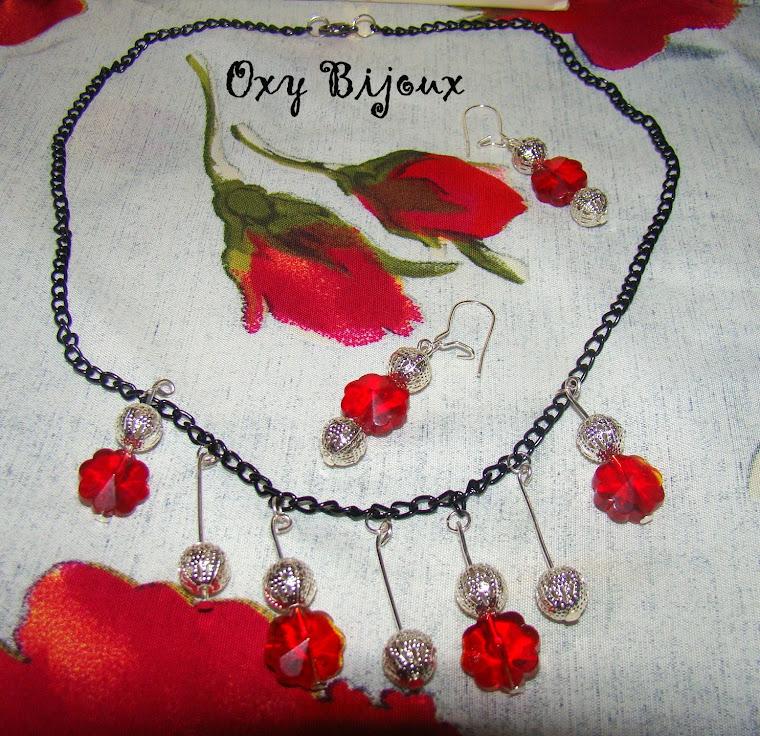 Set colier si cercei flori rosii - pret 15 ron (S15)