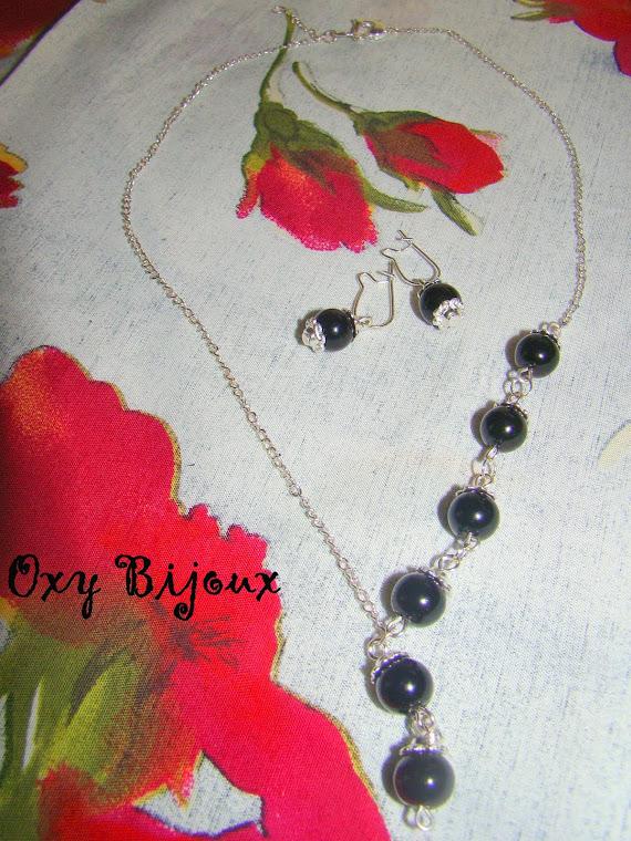 Set colier si cercei perla neagra - pret 15 ron (S16) VANDUT