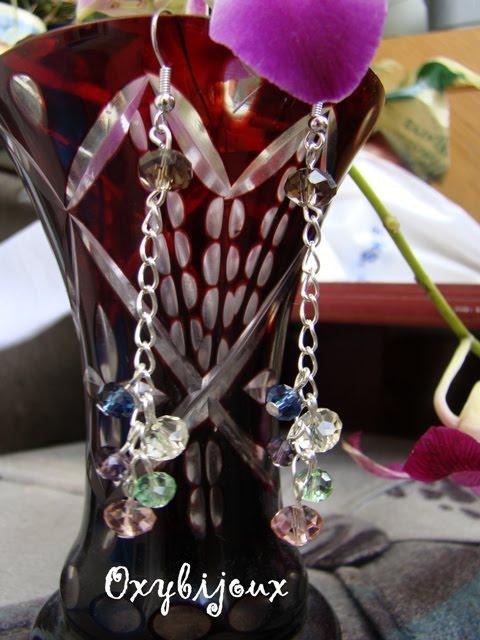 Cercei cristale multifatetate si accesorii argintate - 17 ron-VANDUT