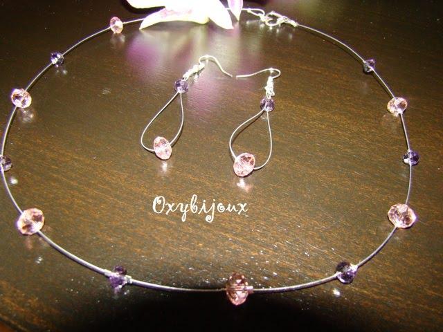 Set colier si cercei cristale roz si mov - 30 ron-VANDUT