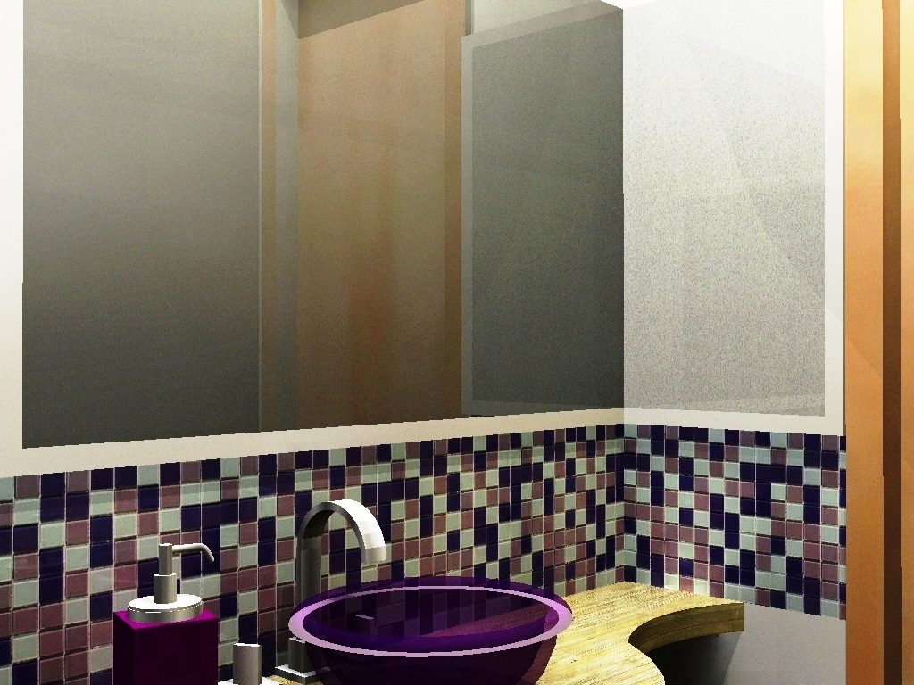 Detalhe uso de pastilhas acima do balcão da pia. #9A6731 1024x768 Banheiro Com Pastilhas Lilas