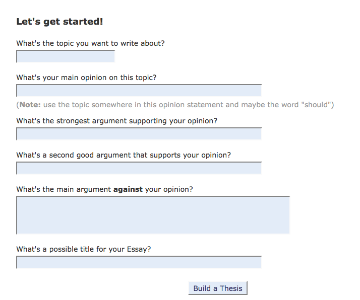 Argumentative thesis statement generator