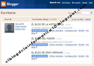 pantalla gestión de blogs