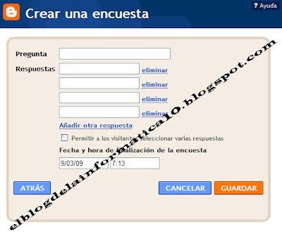 crear encuesta en nuestro blog - configuración del gadget