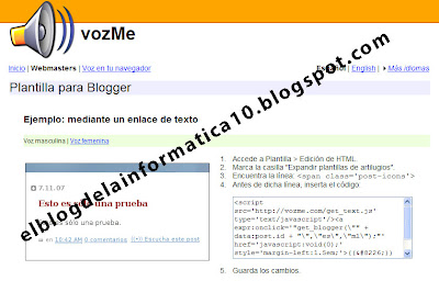 integrar en blog la opción convertir texto a voz