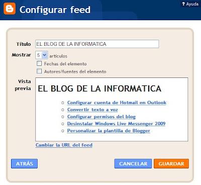 configuración gadget últimas entradas en blog