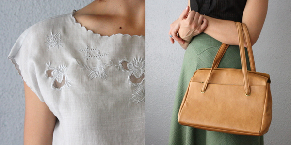 Thrush - embroidered blouse and butterscotch handbag