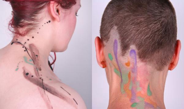 Amanda Wachob - painted abstract tattoos left: abstract neck, right: