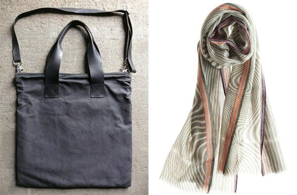 glass architect waxed canvas and leather portfolio bag and EPICE SARL pavia scarf