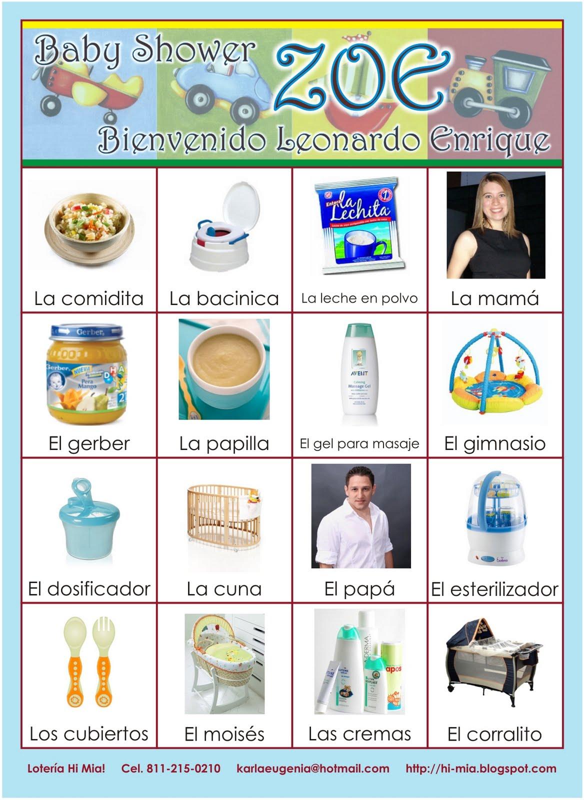 Loteria Baby Shower Nina Imagui