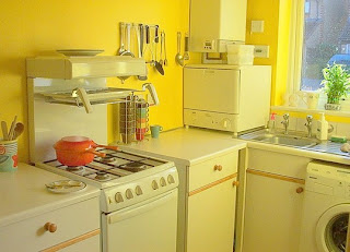 yellow kitchen cabinets