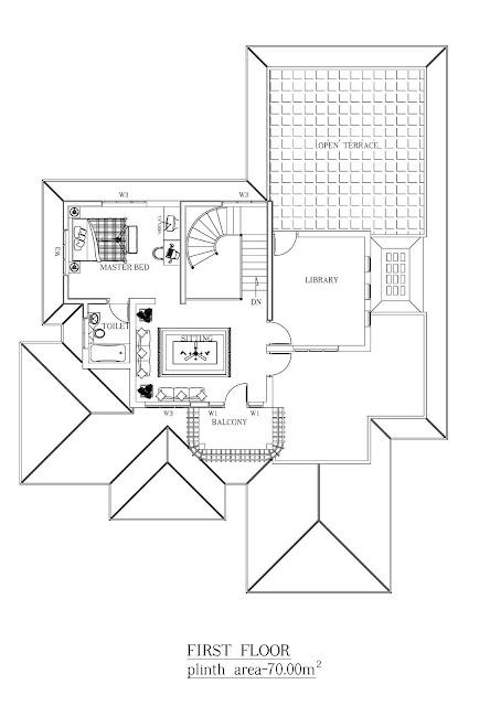 2500 sqft 3BHK Indian Independent Villa 3D Elevation Floor Plan