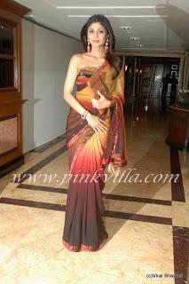 Shilpa Shetty in saree at Neelam's Reception