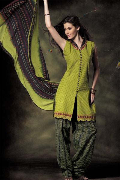GreenSalwarKameezwithPrinteddupatta - Dresse'z & Duppata Style'z =By ADoO
