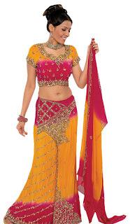 Yellow and Red Wedding Dress Indian Lehenga Choli Indian