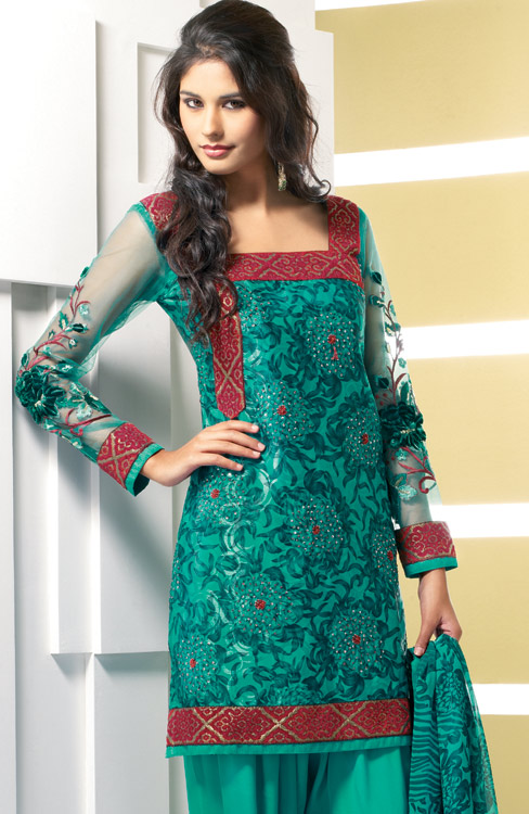punjabi salwar kameez with green color faux crepe silk fabric kameez