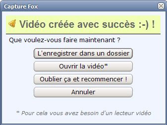 Extension Capture fox pour Firefox - options 2