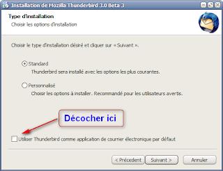 Mozilla Thunderbird 3 beta 3 - Options d'installation